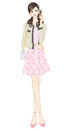 Women fashion feminine style full length vector illustration of who wearing clothes Stock Images