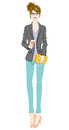 Women fashion intellectual full length vector illustration of who wearing Stock Photo