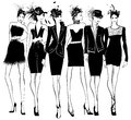 Women fashion models in black dress and feather hat Royalty Free Stock Photo