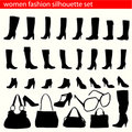 Women fashion silhouette set Royalty Free Stock Photo