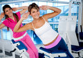 Women at the gym exercising Stock Image