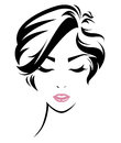 Women hair style icon, logo women face Royalty Free Stock Photo
