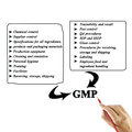 Women hand writing components of gmp good manufacturing practice practices for use in training and presentation Royalty Free Stock Photos
