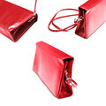 Women handbag red collection on white background Stock Photos