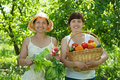 Women with  harvested vegetables in garden Stock Image