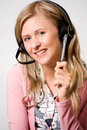 Women with headphones Royalty Free Stock Images