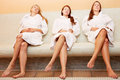 Women on heated bench relaxing Stock Images