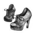 Women high hill footwear in retro vintage style