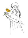 Women hold yellow flower in hands in line art drawing illustration Royalty Free Stock Photo