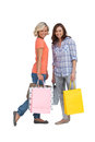 Women holding bags on white background Royalty Free Stock Photos