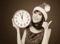 Women with huge clock Royalty Free Stock Photo