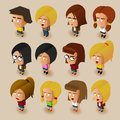 Women isometric set people vector illustrator Stock Photography