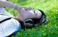 Women listening to music Royalty Free Stock Photo