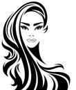 Women long hair style icon, logo women on white background Royalty Free Stock Photo