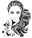 Women long hair style icon, logo women on white background