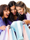 Women looking at purchases Stock Images
