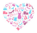 Women love shopping cute background with icons of s items and accessories Stock Photography
