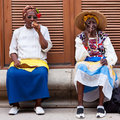 Women in Old Havana smoking cuban cigars Stock Photo