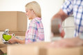 Women packing some household things in moving boxes Stock Image