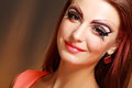 Women with perfect art make up gorgeous young model beautiful woman and long false eyelashes Royalty Free Stock Photos