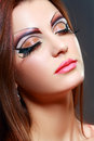 Women with perfect art make up gorgeous young model beautiful woman and long false eyelashes Stock Images