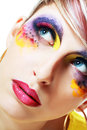 Women with perfect art make up gorgeous young model beautiful woman and long false eyelashes Royalty Free Stock Images