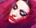 Women with perfect art make up gorgeous young model beautiful woman and long false eyelashes made from feathers Royalty Free Stock Images
