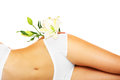 Women are perfect a picture of a slim female belly and a flower over white background Stock Images