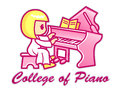 Women playing grand piano college piano mascot education character design series Stock Images