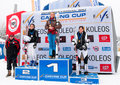 Women Podium of Carving World challenge 2011 Stock Photo
