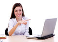 Women pointing to the laptop Stock Photo