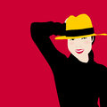 Women portrait in black dress and yellow hat with smile of happiness | Women model vector illustration. Royalty Free Stock Photo