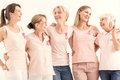 Women promoting breast cancer prevention Royalty Free Stock Photo