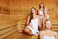 Women relaxing in lady's sauna Royalty Free Stock Photos