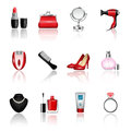 Women s accesories female and accessories icon set Stock Image