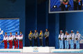 Women s biathlon x km relay medal ceremony sochi russia february russian ukrainian and norwegian teams during at sochi xxii Stock Image