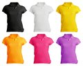 Women s blank polo shirt template front design in many color Royalty Free Stock Photo