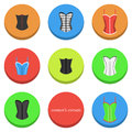 Women s corsets icons set of with different types of Stock Images