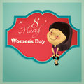 Women s day a happy girl in a colored poster for Royalty Free Stock Image