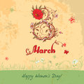Women s day march vintage card greeting on international in retro style Royalty Free Stock Photo