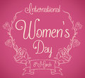 Women's Day Message in Roses Wreath In-line Style, Vector Illustration Royalty Free Stock Photo