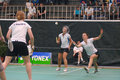 Women´s double le badminton Images libres de droits