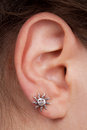 Women's ear with an earring Royalty Free Stock Photography