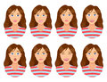 Women`s emotions. Female face expression. Woman avatar. Royalty Free Stock Photo