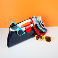 Women's Fashion Accessories. Your style - sunglasses and handbag Royalty Free Stock Photo