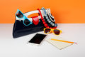 Women's Fashion Accessories. Your style - sunglasses, handbag, p Royalty Free Stock Photo
