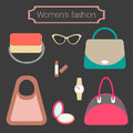 Women s fashion collection of bags and accessories vector illustration Royalty Free Stock Image