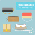 Women s fashion collection of bags on blue background vector illustration contains eps and high resolution jpeg Stock Images