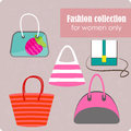 Women s fashion collection of bags on lilac background vector illustration contains eps and high resolution jpeg Royalty Free Stock Photo