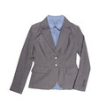 Women s gray classic blazer with shirts blue isolated on white Stock Photos